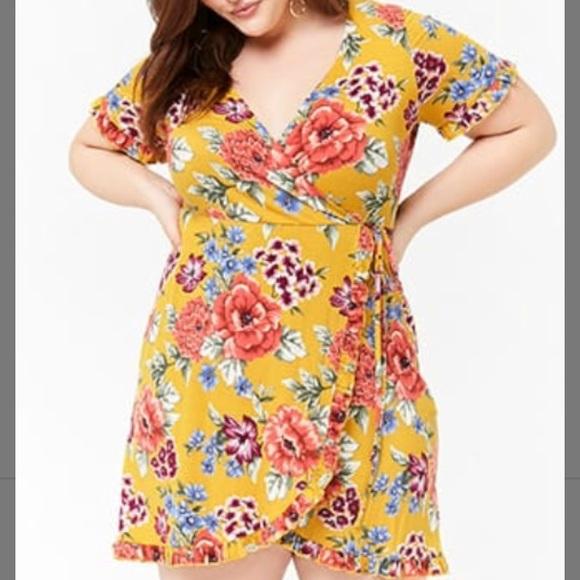1475b9ffddd Forever 21 Dresses   Skirts - Plus Size Floral Surplice Dress Mustard 3x